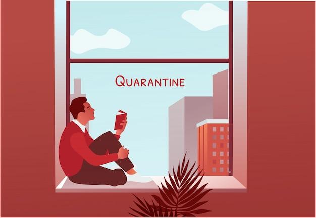 Kwarantanna 2019-ncov. mężczyzna czytelnicza książka blisko okno. blokada w domu.