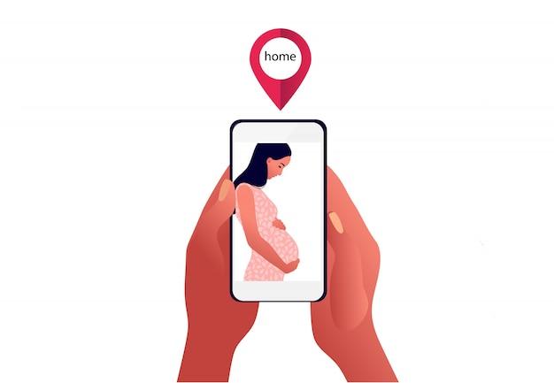 Kwarantanna 2019-ncov. smutna kobieta w ciąży na ekranie telefonu. rodzina osobno. panika wywołana przez koronawirusa. miłośnicy osobno. ilustracja na białym tle chory.
