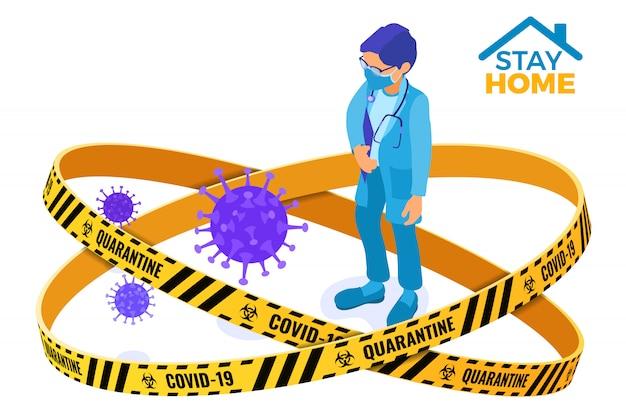 Kwarantanna covida-19 zostaje w domu lekarz w masce