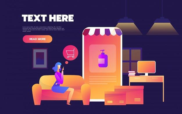Kwarantanna epidemiczna koronawirusa. zakupy online. zostań w domu. okaleczająca dziewczyna robi zakupy alkoholowego gel na telefonie komórkowym w domu. płaskie ilustracji wektorowych.