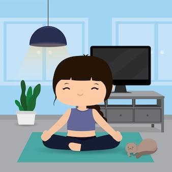 Kwarantanna, koncepcja pobytu w domu. praca w domu, kobieta robi ćwiczenia i jogi, trening w domu siłowni. postać z kreskówki ilustracja