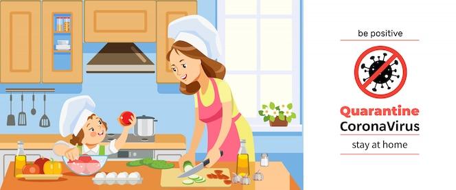 Kwarantanna koronawirusa lub covid-19. matkuje dziewczyny przygotowywa zdrowego jedzenie w domu wpólnie i żartuje. rodzinne gotowanie w domu w kuchni podczas kryzysu koronawirusowego. bądź pozytywnie nastawiony. ilustracja kreskówka