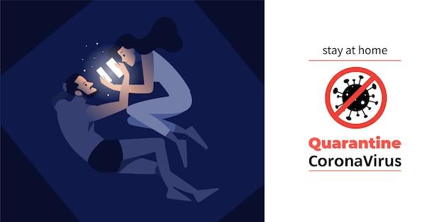 Kwarantanna koronawirusa lub covid-19. zostań w domu dzięki kwarantannie, aby spowolnić epidemię i chronić rozprzestrzenianie się wirusów. izolacja mężczyzny i kobiety w jego domu ze znakiem ostrzegawczym o ograniczonym obszarze. wektor