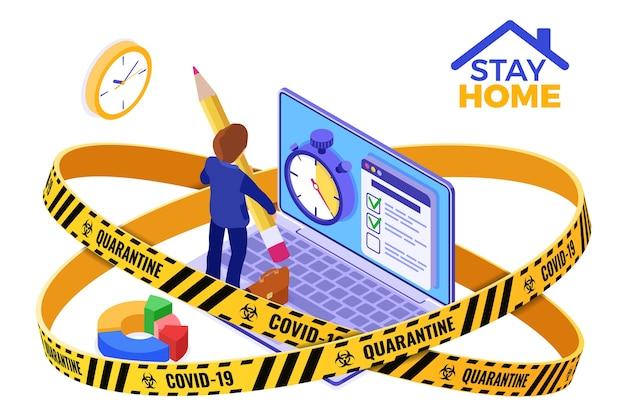 Kwarantanna koronawirusa zostaje w domu. planowanie harmonogramu zarządzania czasem biznesmen planowania pracy z domu wewnątrz taśmy ostrzegawczej z izometryczną ilustracją stopera