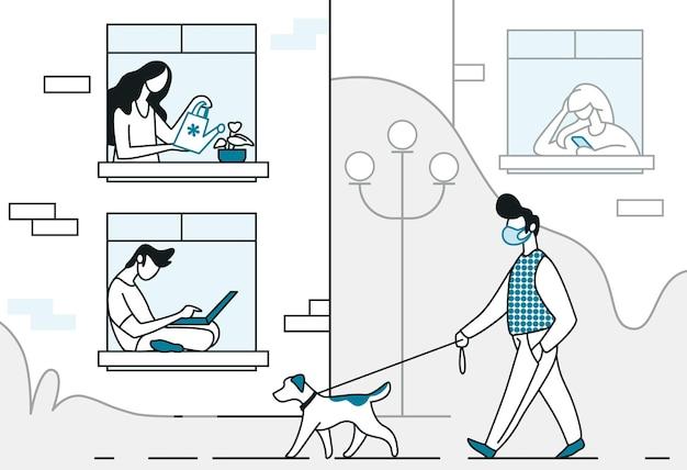 Kwarantanna. kreskówka linia tło z ludźmi przebywającymi w domu i człowiek spacerujący z psem, profilaktyka covid i koncepcja samoizolacji. wektor modne koncepcje stylu życia w czasie wirusa