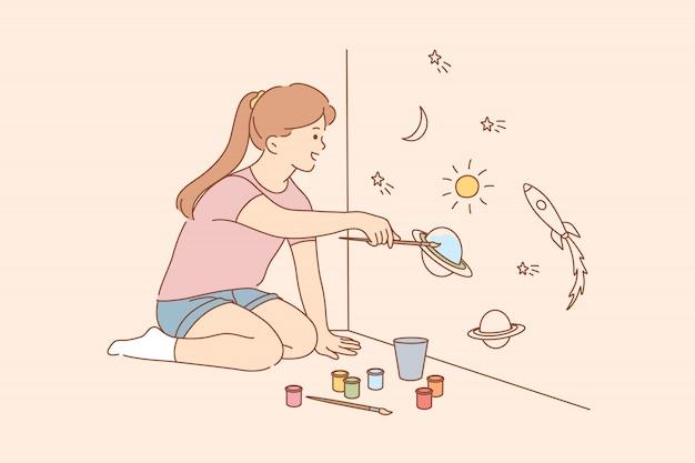 Kwarantanna, malarstwo, sztuka, gra, czas wolny, koronawirus, koncepcja z dzieciństwa