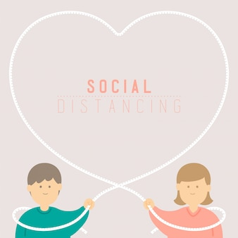 Kwarantanna mężczyzna i kobieta z sercem miłość ramka taśma miernicza zachowaj dystans do ochrony wybuch covid-19 dystansowanie społeczne pobyt w domu