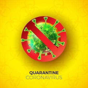 Kwarantanna - projekt koronawirusa z komórką wirusa covid-19 na symbolu niebezpieczeństwa biologicznego