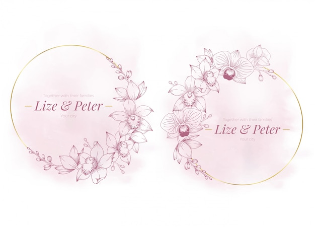 Kwarc różowy elegancki złoty kwiatowy rama akwarela tło