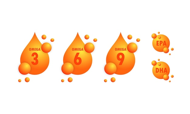 Kwasy omega lub epa, zestaw kropli dha. omega trzy, sześć i dziewięć lub złota kapsułka oleju rybnego.