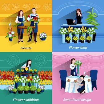 Kwiaciarnia 4 płaskie ikony kwadratowy skład