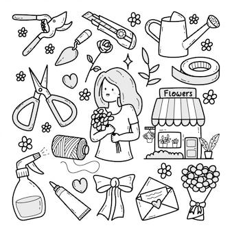 Kwiaciarnia ilustracja doodle rysowane ręcznie