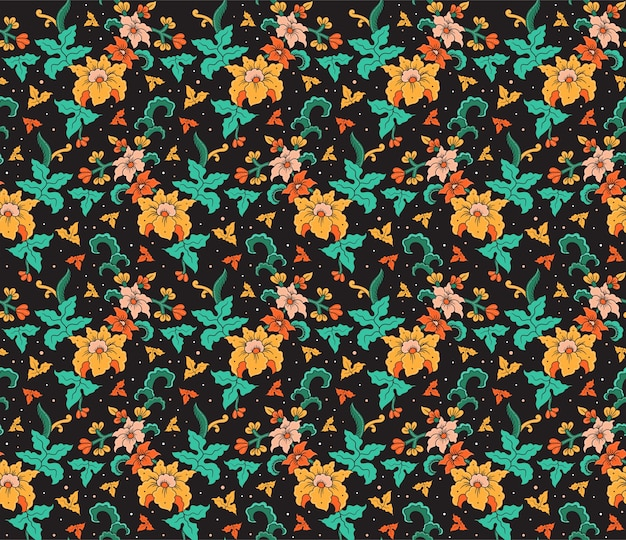 Kwiat batik ręcznie rysowane