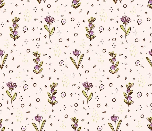 Kwiat bezszwowy wzór w doodle stylu ilustraci