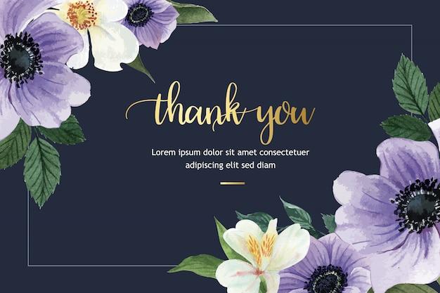 Kwiat botaniczny akwarela ramki obramowanie kwitnące, drukuj ilustracja