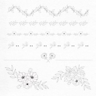 Kwiat botaniczny ręcznie rysować grafikę graficzną w stylu minimalistycznym