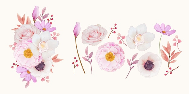 Kwiat clipart różowych róż orchidei i anemonu