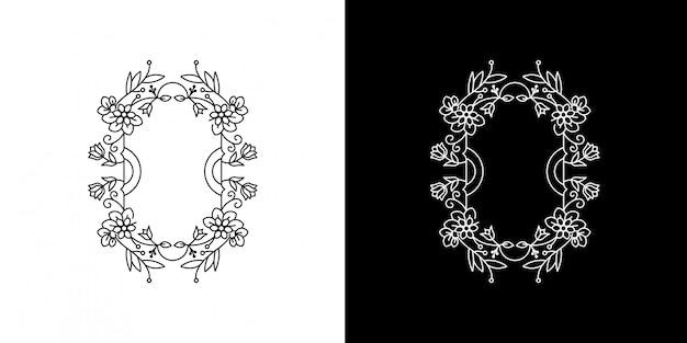 Kwiat czarno-biała ramka vintage monoline