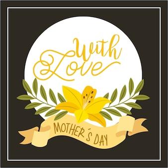 Kwiat hibiskusa pozostawia wstążki z dzień matki miłości