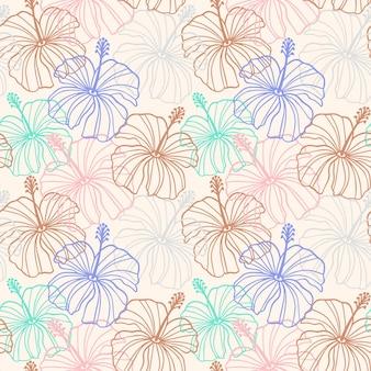 Kwiat hibiskusa wzór w kolorach beżowym, różowym, brązowym. tropikalny hawajski kwiatowy wzór. egzotyczne pastelowe tło z sylwetką linii hibiskusa. ilustracja wektorowa do druku, tekstylia