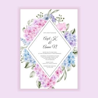 Kwiat hortensji różowy niebieski akwarela na zaproszenie na ślub