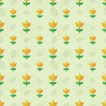 Kwiat i liść w stylu płaski wzór
