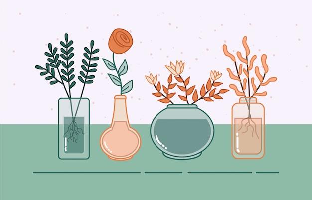 Kwiat i roślina w szklanej doniczce ilustracji.