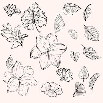 Kwiat i zostaw w stylu atramentu