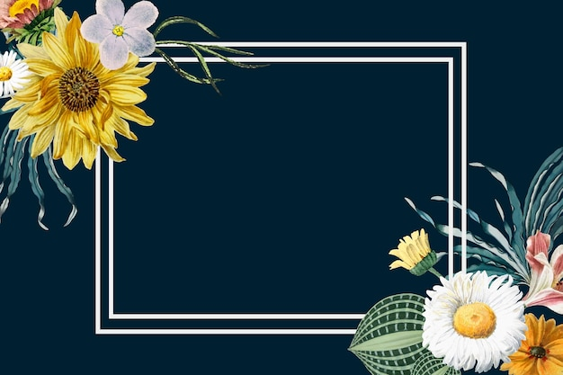 Kwiat ilustracja vintage rama wektor