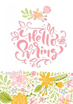 Kwiat kartkę z życzeniami z tekstem hello spring