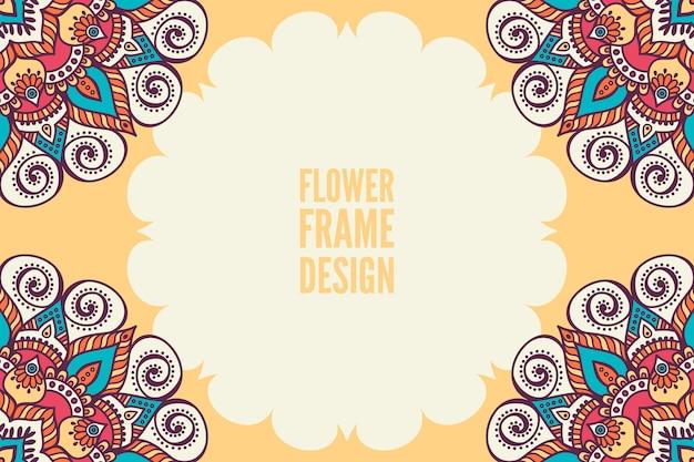 Kwiat kolorowy okrągły ornament rama
