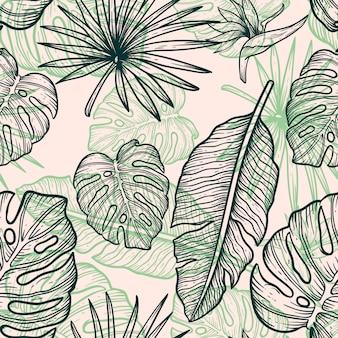 Kwiat liście linia ręcznie rysować wzór rocznika