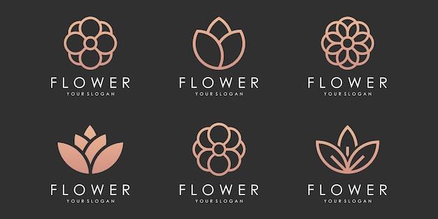 Kwiat logo ikona zestaw kwiatowy wzór szablonu wektor