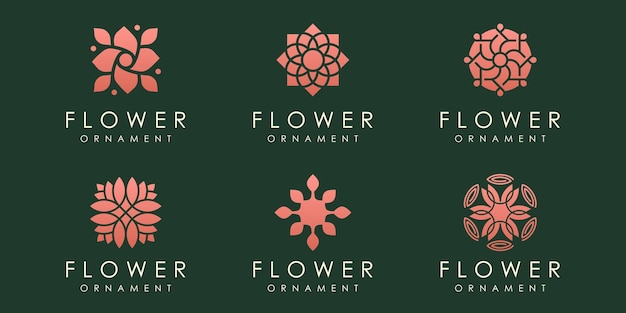 Kwiat logo ikona zestaw natura projekt szablonu wektor