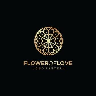 Kwiat logo koło ikona wektor szablon projektu