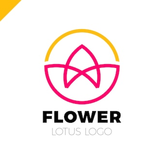 Kwiat logo koło streszczenie szablon wektor. ikona lotus spa. cosmetics hotel garden salon piękności koncepcja logotypu.