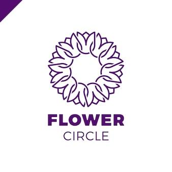 Kwiat Logo Koło Streszczenie Szablon Wektor. Ikona Tulip Spa. Cosmetics Hotel Garden Salon Piękności Koncepcja Logotypu. Premium Wektorów