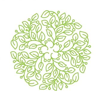 Kwiat logo. kwiatowy okrągły element vintage.