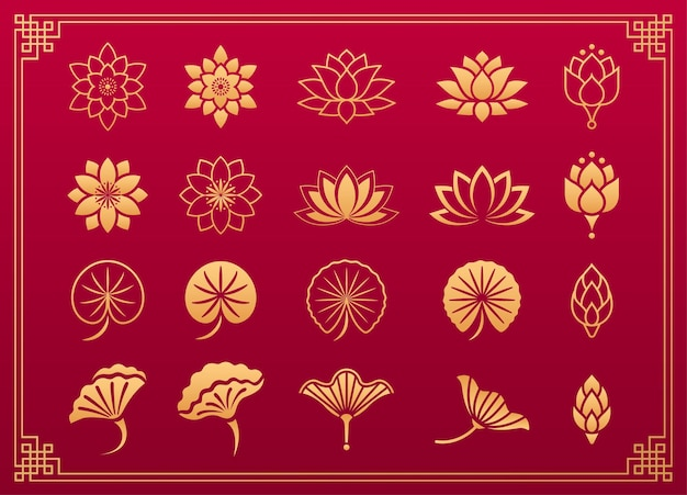 Kwiat lotosu azjatycki ornament chińskie i japońskie złote ozdoby z liści i kwiatu lotosu