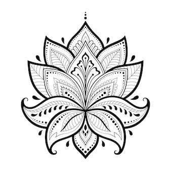 Kwiat lotosu mehndi do rysowania henną i tatuażu. ozdoba w orientalnym, indyjskim stylu. doodle ornament. rysowanie ręki konspektu.