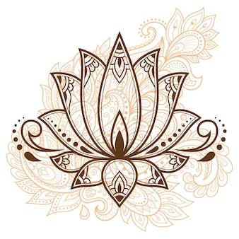Kwiat lotosu mehndi do rysowania i tatuażu henną. dekoracja w orientalnym, indyjskim stylu. doodle ozdoba. zarys ręcznie rysować ilustracji wektorowych.