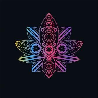 Kwiat lotosu z geometryczną deseniową liniową ilustracją