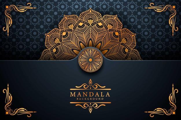 Kwiat luksusowy mandali tło arabeskowy styl