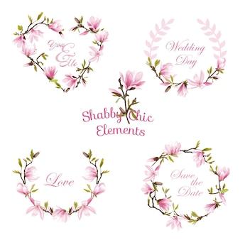 Kwiat Magnolia Banery I Tagi Premium Wektorów