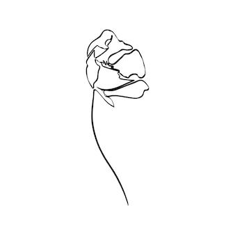 Kwiat maku to jedna grafika liniowa. streszczenie wektor roślin w modnym stylu minimalistycznym. do projektowania logo, zaproszeń, plakatów, pocztówek, nadruków na koszulkach.