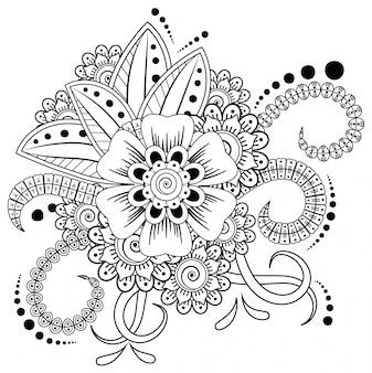 Kwiat mehndi do rysowania i tatuażu henną. dekoracja w etnicznym stylu orientalnym, indyjskim.