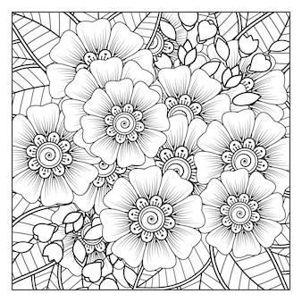 Kwiat mehndi w etnicznym stylu orientalnym doodle ornament kontur ręcznie rysować ilustracja kolorowanki książki
