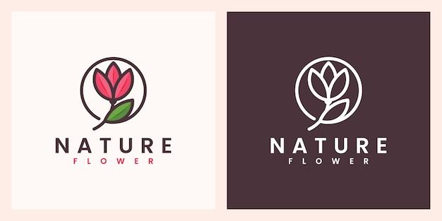 Kwiat natury z pięknym kolorowym projektem logo