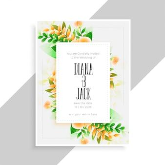 Kwiat ozdoba piękny ślub karta szablon projektu
