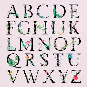 Kwiat ozdobiony alfabetem zestaw liter botanicznych